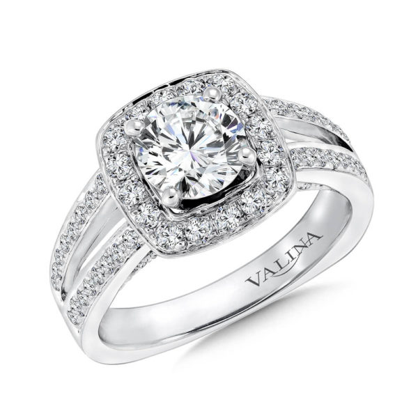 14K White Gold 0.56ct Diamond Engagement Ring 1.00ct center