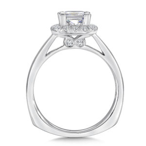 R9312W_1 14K White Gold 0.25ct Diamond Engagement Ring 1.00ct Princess center
