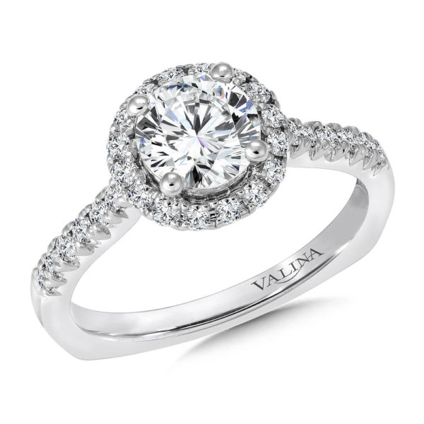 14K White Gold 0.35ct Diamond Engagement Ring 1.00ct center