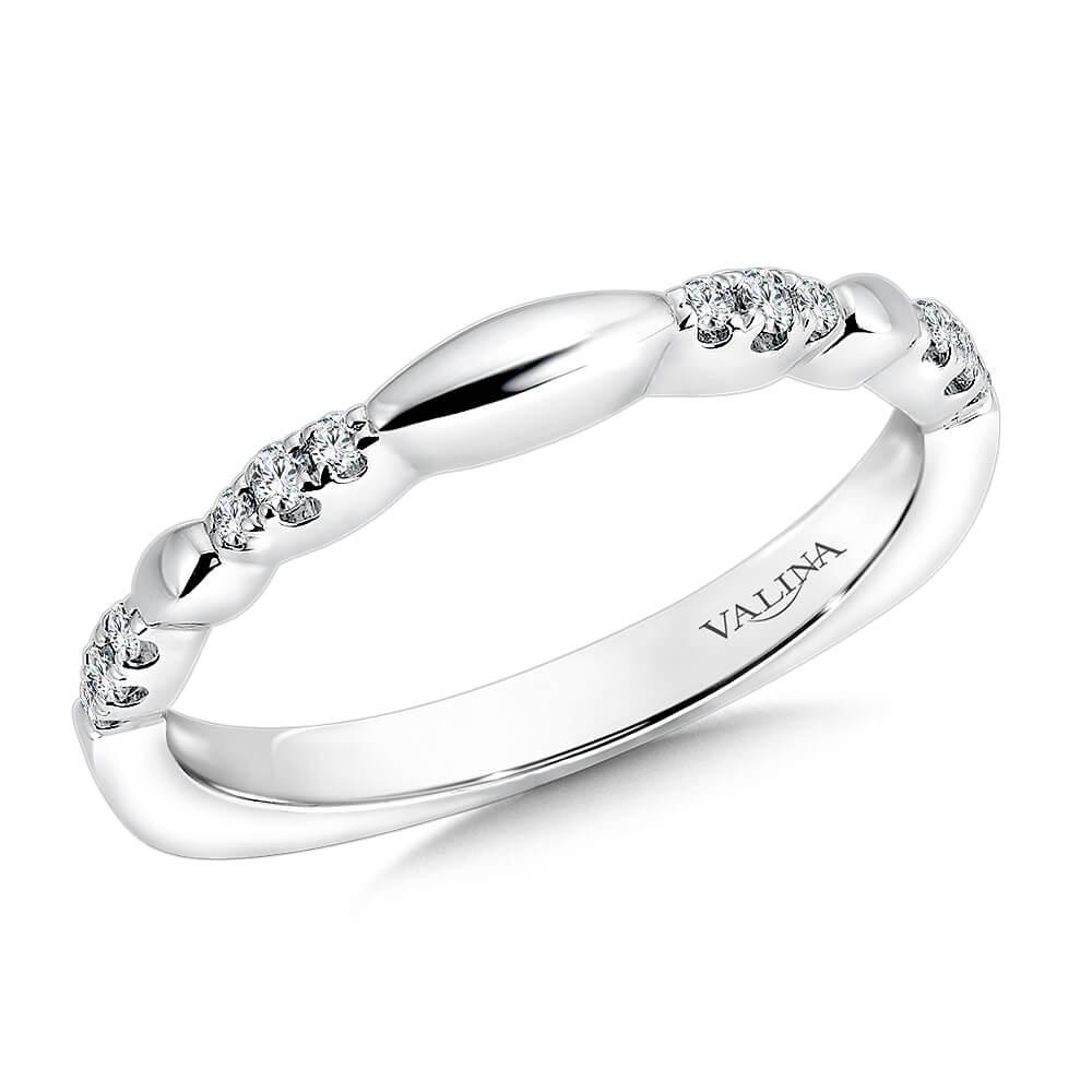 14K White Gold 0.11ct Diamond Wedding Band