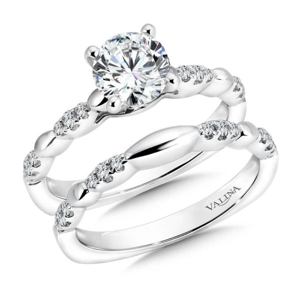 14K White Gold 0.22ct Diamond Bridal Set 1.00ct center