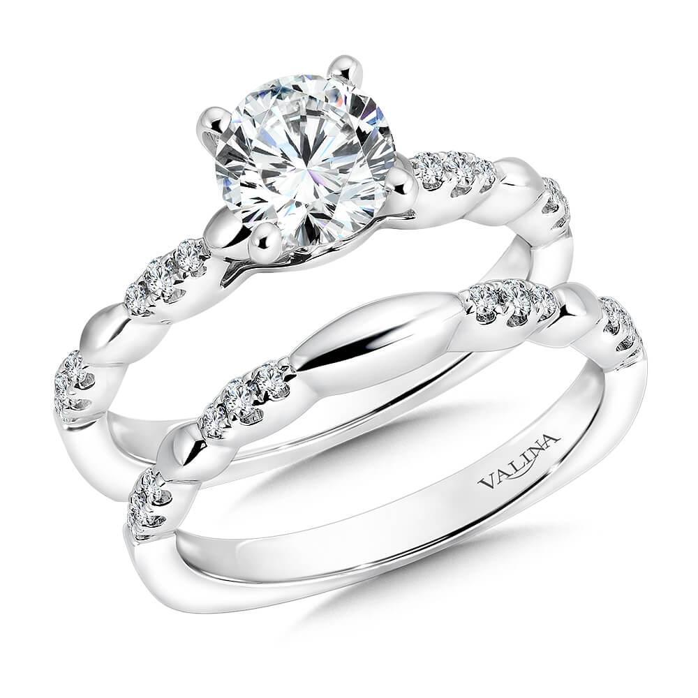 14K White Gold 0.22ct Diamond Bridal Set 1.00ct center