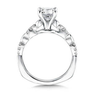 14K White Gold 0.11ct Diamond Engagement Ring 1.00ct center