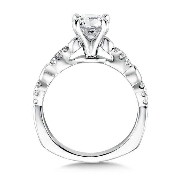 14K White Gold 0.11ct Diamond Engagement Ring 1.00ct center