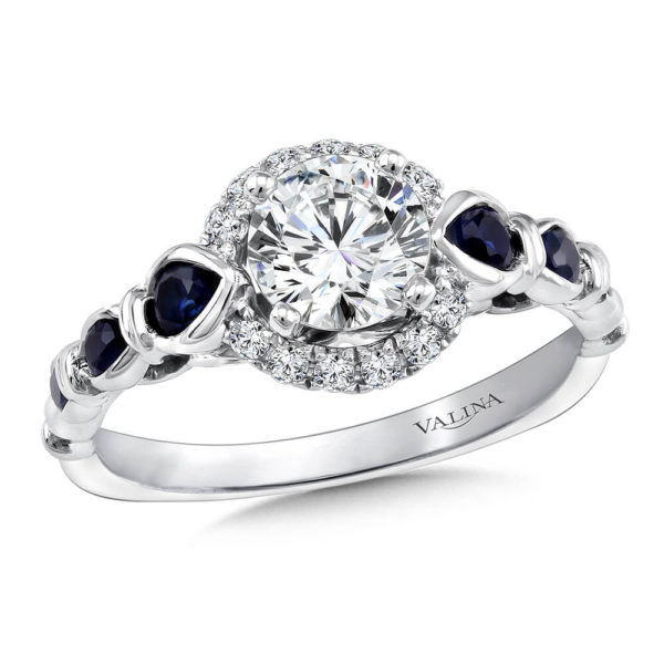 14K White Gold 0.30ct Diamond and Sapphire Engagement Ring 0.75ct center