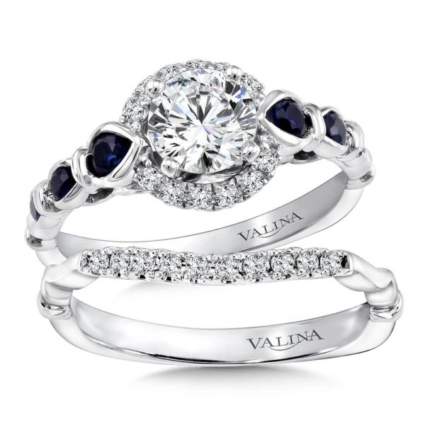 14K White Gold 0.40ct Diamond and Sapphire Bridal Set 0.75ct center
