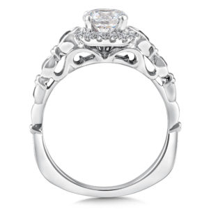 14K White Gold 0.ct Diamond Engagement Ring 0.75ct center