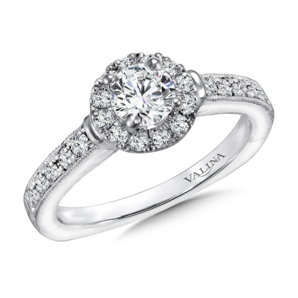 14K White Gold 0.32ct Diamond Engagement Ring 0.50ct center