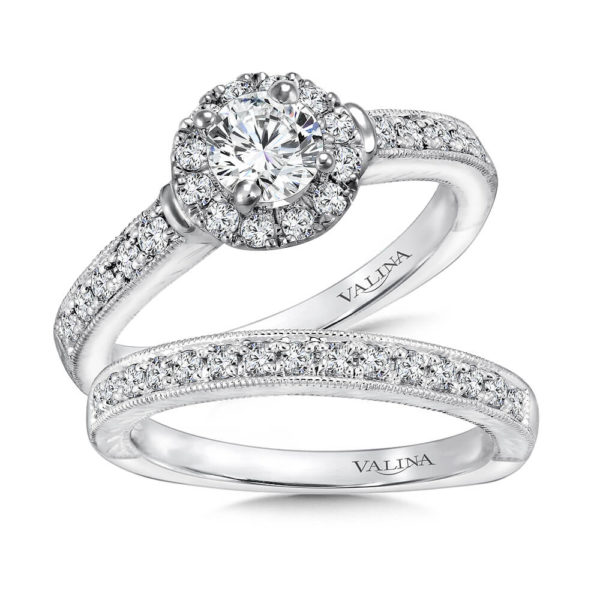 14K White Gold 0.52ct Diamond Bridal Set 0.50ct center