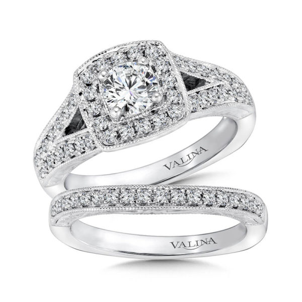14K White Gold 0.59ct Diamond Bridal Set 0.50ct center