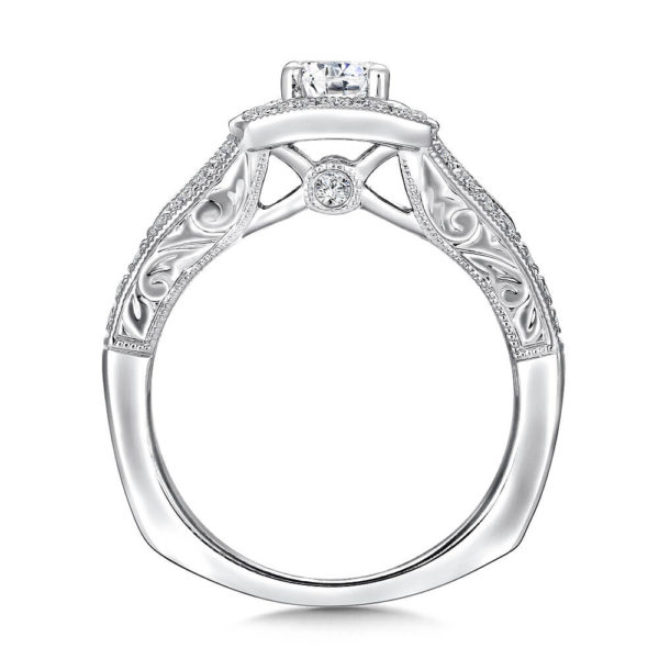 14K White Gold 0.43ct Diamond Engagement Ring 0.50ct center