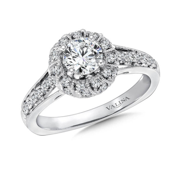 14K White Gold 0.34ct Diamond Engagement Ring 0.625ct center