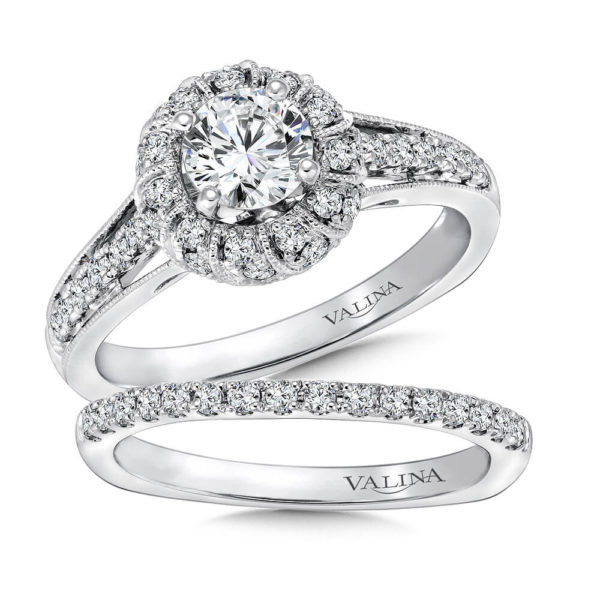 14K White Gold 0.51ct Diamond Bridal Set 0.625ct center
