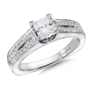 14K White Gold 0.29ct Diamond Engagement Ring 0.75ct Princess center
