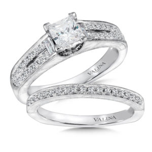 14K White Gold 0.42ct Diamond Bridal Set 0.75ct Princess center