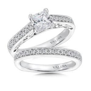 14K White Gold 0.45ct Diamond Bridal Set 0.75ct Princess center