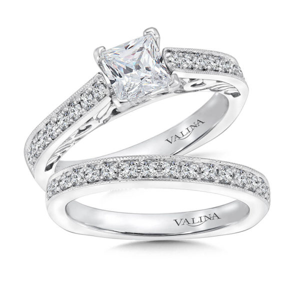 14K White Gold 0.45ct Diamond Bridal Set 0.75ct Princess center