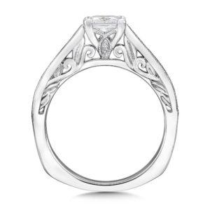 14K White Gold 0.23ct Diamond Engagement Ring 0.75ct Princess center