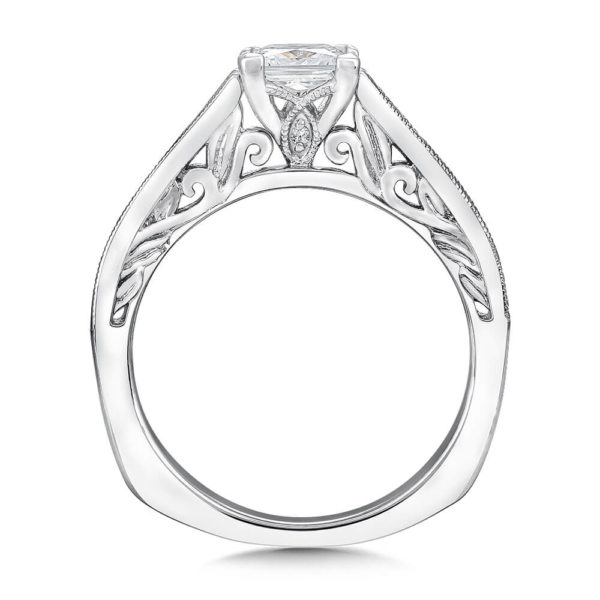 14K White Gold 0.23ct Diamond Engagement Ring 0.75ct Princess center