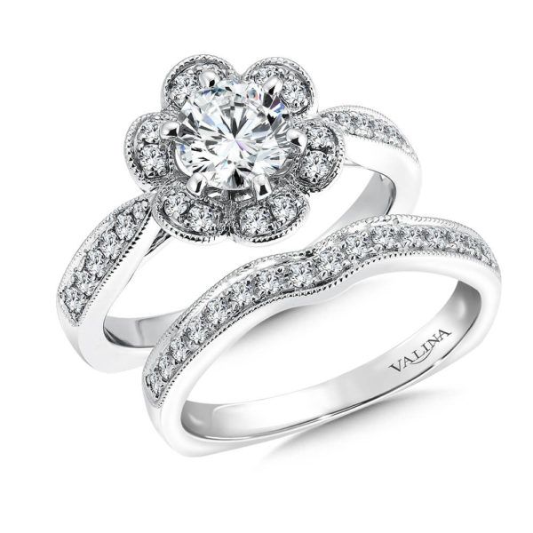14K White Gold 0.54ct Diamond Bridal Set 0.75ct center