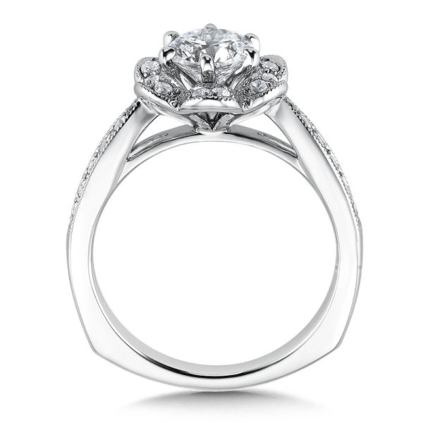 14K White Gold 0.37ct Diamond Engagement Ring 0.75ct center