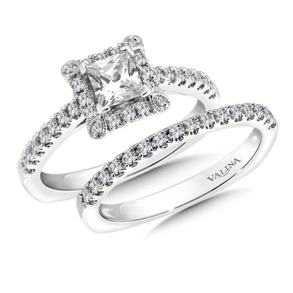 14K White Gold 0.46ct Diamond Bridal Set 0.50ct Princess center