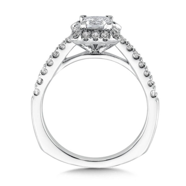 14K White Gold 0.28ct Diamond Engagement Ring 0.50ct Princess center