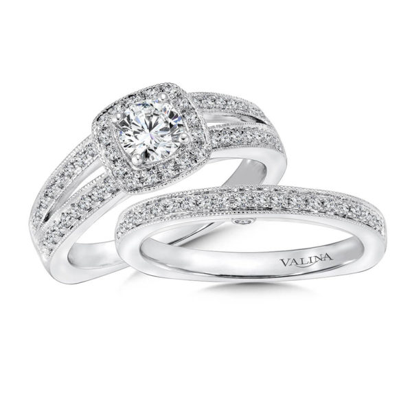 14K White Gold 0.37ct Diamond Bridal Set 0.50ct center
