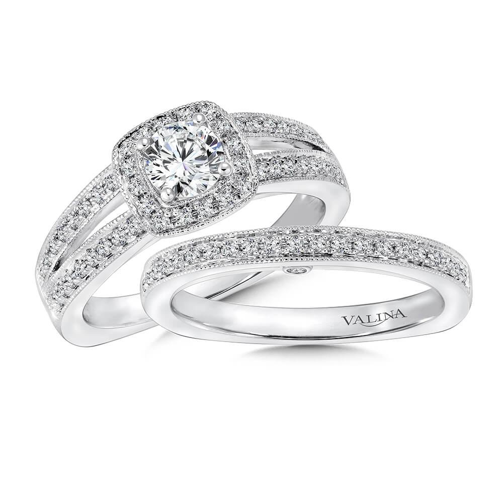 14K White Gold 0.37ct Diamond Bridal Set 0.50ct center