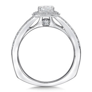 14K White Gold 0.26ct Diamond Engagement Ring 0.50ct center