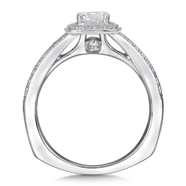 14K White Gold 0.26ct Diamond Engagement Ring 0.50ct center