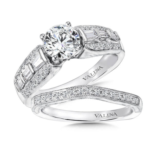 14K White Gold 0.64ct Diamond Bridal Set 1.00ct center