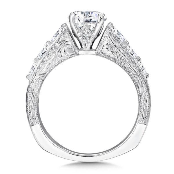 14K White Gold 0.53ct Diamond Engagement Ring 1.00ct center