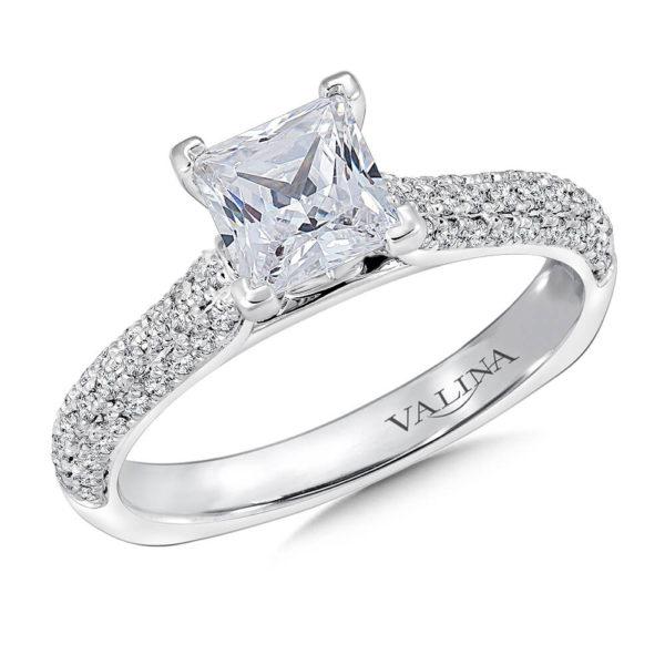14K White Gold 0.33ct Diamond Engagement Ring 1.00ct Princess center