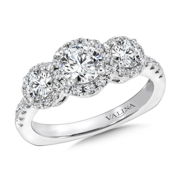 14K White Gold 1.40ct Diamond Engagement Ring 0.625ct center