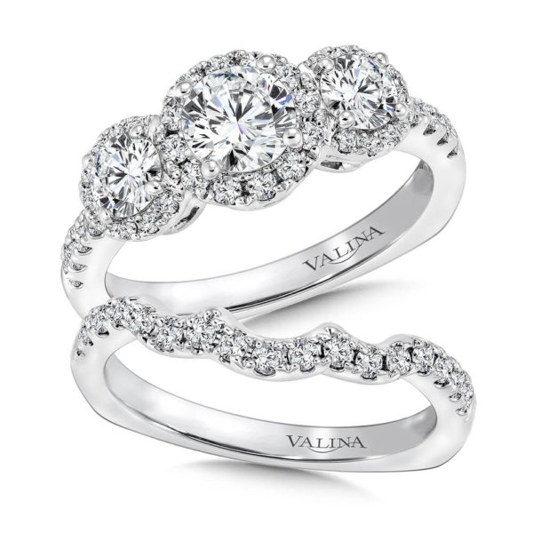 14K White Gold 1.63ct Diamond Bridal Set 0.625ct center
