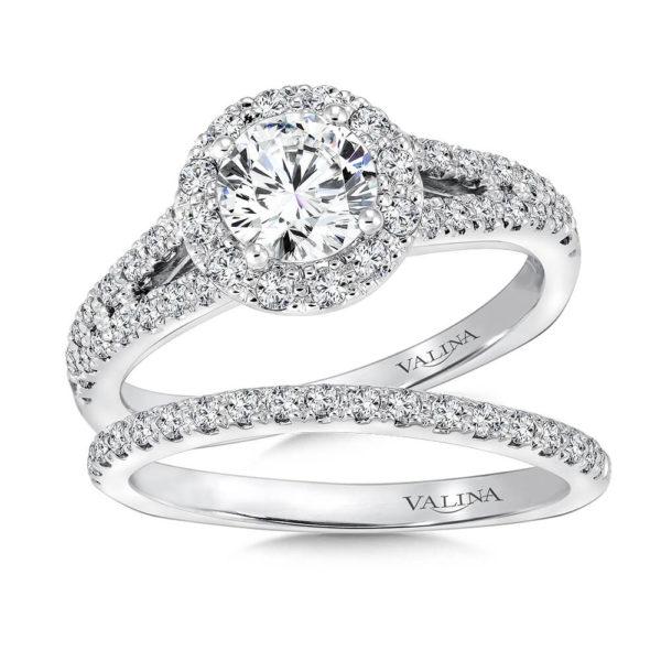 14K White Gold 0.62ct Diamond Bridal Set 0.75ct center