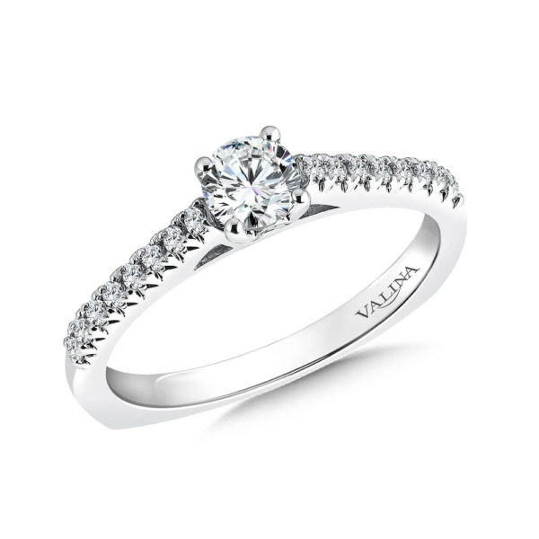 14K White Gold 0.17ct Diamond Engagement Ring 0.33ct center
