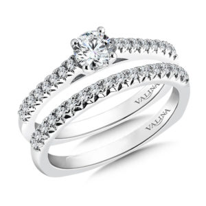 14K White Gold 0.32ct Diamond Bridal Set 0.33ct center