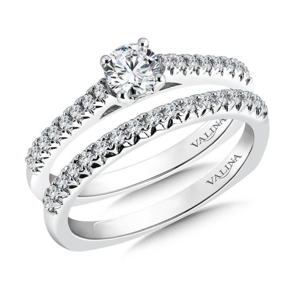 14K White Gold 0.32ct Diamond Bridal Set 0.33ct center