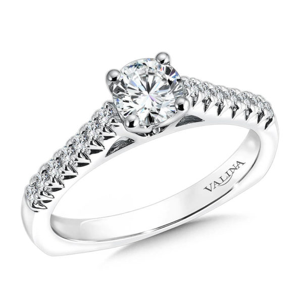 14K White Gold 0.23ct Diamond Engagement Ring 0.625ct center