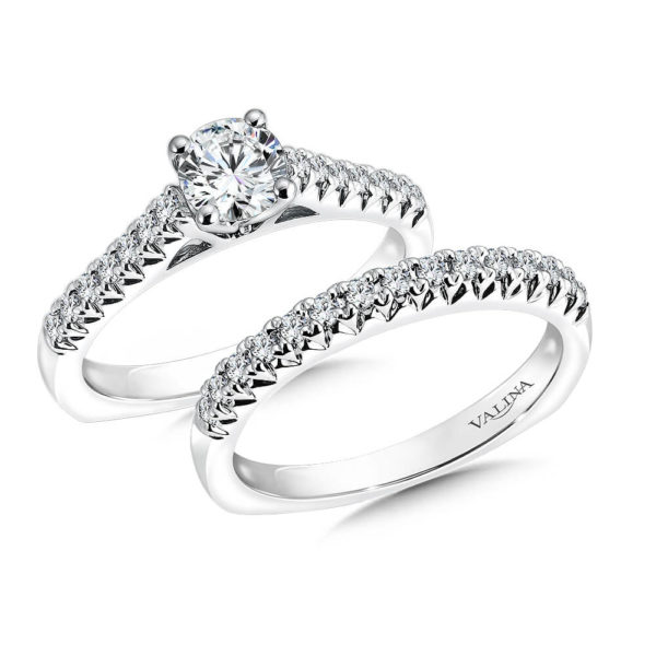 14K White Gold 0.43ct Diamond Bridal Set 0.625ct center