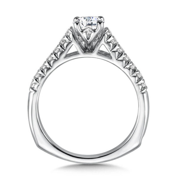 14K White Gold 0.23ct Diamond Engagement Ring 0.625 ct center