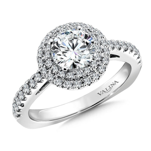 14K White Gold 0.41ct Diamond Engagement Ring 1.00ct center