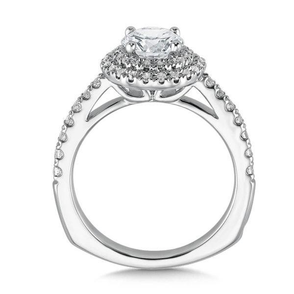 14K White Gold 0.41ct Diamond Engagement Ring 1.00ct center