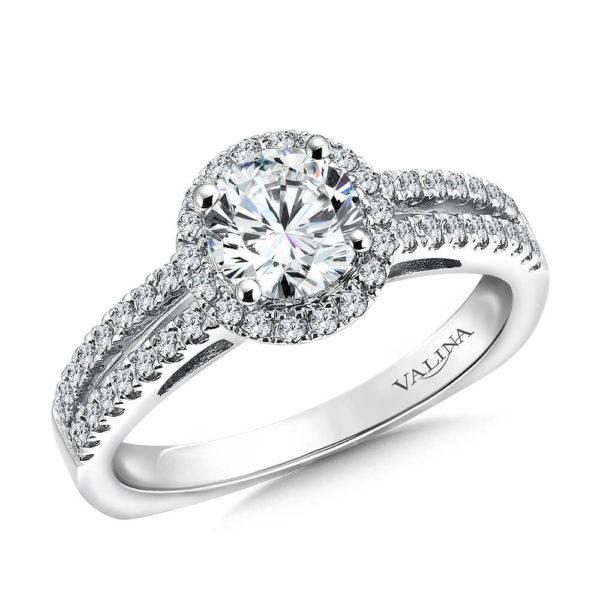 14K White Gold 0.32ct Diamond Engagement Ring 0.75ct center