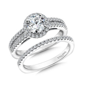 14K White Gold 0.43ct Diamond Bridal Set 0.75ct center
