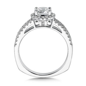 14K White Gold 0.32ct Diamond Engagement Ring 0.75ct center
