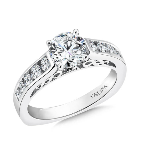 14K White Gold 0.53ct Diamond Engagement Ring 1.00ct center