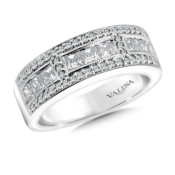 14K White Gold 1.01ct Diamond Wedding Band - Anniversary Band